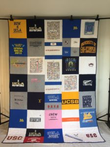 T-shirt quilt made from college rowing team jersies